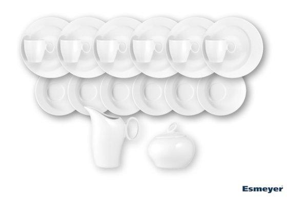 20-teiliges Sparset / Kaffeeservice AVENUE, von caterado, weißes Porzellan